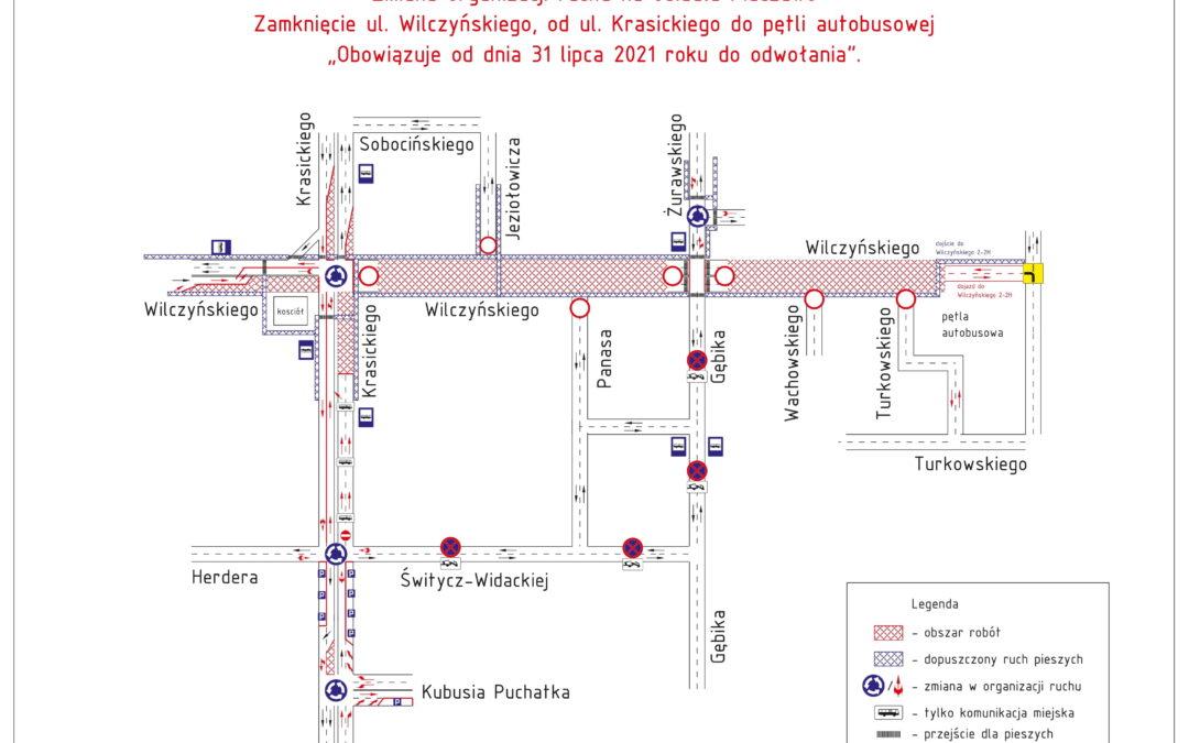 Roboty drogowe na ul. Wilczyńskiego (os. Pieczewo) od 31 lipca 2021 r.