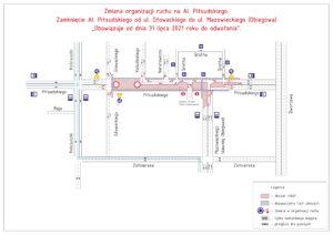 Mapka - schemat zamknięcia ul. Piłsudskiego-1