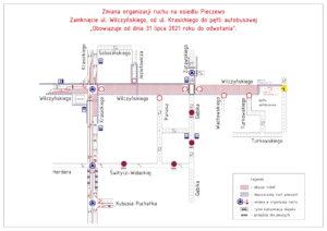 Mapka - schemat zamknięcia ul. Wilczyńskiego-1